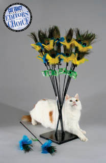 peacock feather cat toy by vee